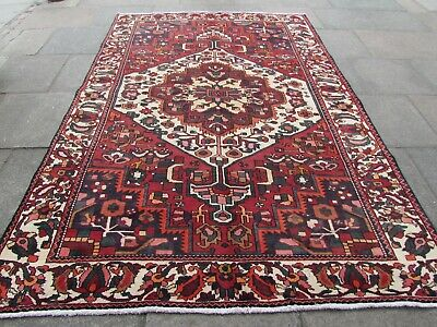 Vintage Worn Old Traditional Hand Made Rug Oriental Red Wool Carpet 308x206cm