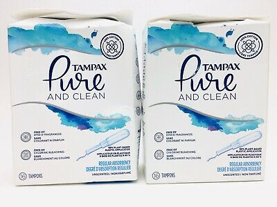 Tampax 2pk Pure & Clean Regular Unscented Tampons 16ct (32 total) New C31 AA