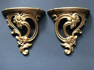 Vintage SYROCO Gold Wall Sconces Shelves Antique Plastic Hollywood Regency PAIR