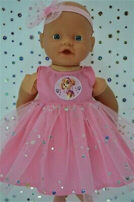 "PlaynWear Dolls Clothes 13""Little Baby Born/Mommy PINK SEQUIN DRESS~HEADBAND"