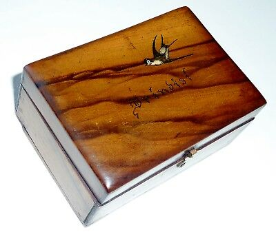 WW2+OLIVE WOOD JERUSALEM BOX hand made painted SWALLOW Brindisi souvenir vintage