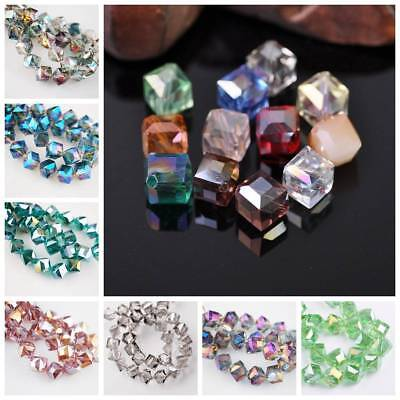 10Pcs 10mm Cube Square Faceted Crystal Glass Spacer Loose Beads Jewelry Making