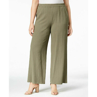 JM Collection Women's Textured Wide Leg Pants 2 Pockets, Olive Spring, Size 2X
