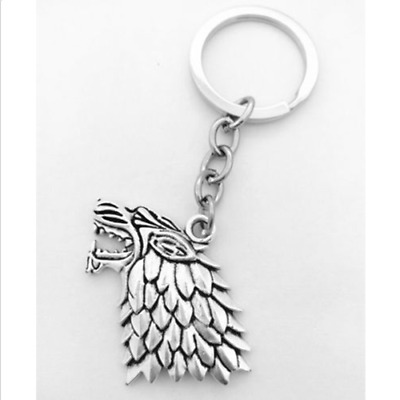 """Game of Thrones""  Stark wolf Charm Key Ring Ancient Silver Gift"