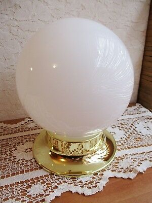 LARGE WHITE GLASS BALL LIGHT SHADE - ROUND LAMP SHADE with GOLD METAL FITTING -