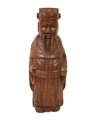 Vintage Asian Man Scholar Chinese Boxwood Carved Wood Wooden Statue Figure 12""