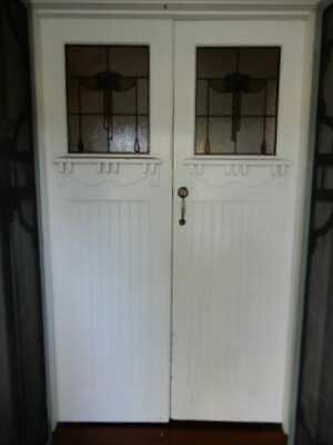 LEADLIGHT DOUBLE FRONT DOORS from Cal Bungalow, removed, 2p