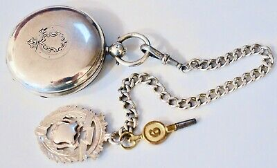 Antique 1800's Stg Silver Rotherhams Fusee Hunter K/W Pocket Watch + Chain & Fob