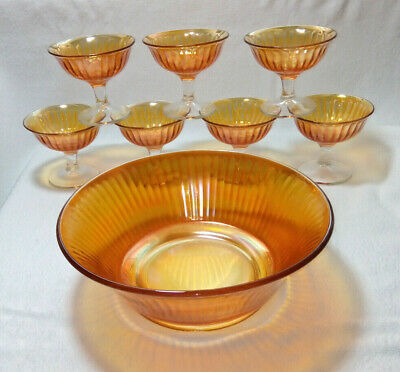 Stunning Reddish Gold / Amber Iridescent Glass 8 Piece Fruit Bowl Dessert Set