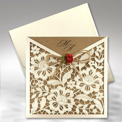Personalised Luxury Rustic Wedding Day Evening Invitations Lacer Cut + Envelopes