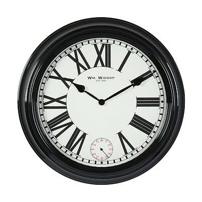 Retro 50Cm Large Black Metal Deep Cased Wall Clock + Second Dial.new.spec.offer