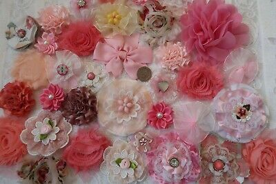 Fabric Flowers Crafts Shabby Chic  Sewing Floral  Embellishments x 35