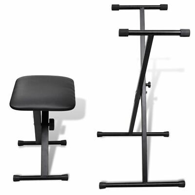 New Double Braced X Frame Piano Keyboard Stand & Chair Bench Height Adjustable