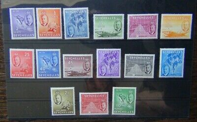 Seychelles 1952 set to 10r MM SG158 SG172 Cat £90