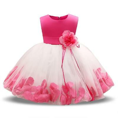 Formal Dress Hot Pink Satin & White Full Skirt With Pink Flowers Size 9 Months