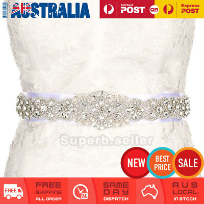 Ivory Rhinestone Crystal Wedding Bridal Dress Bride Gown Sash Belt Satin Ribbon