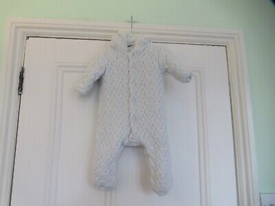 3-6m: Cute white knitted pram suit: Furry lining: Mothercare: Good condition