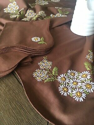 Vintage Handmade Brown Floral Embroidered Tablecloth With Matching Napkins