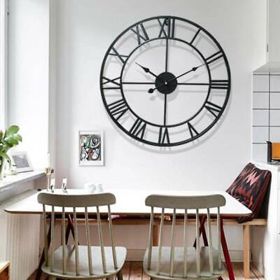 60CM Large Garden Wall Clock Roman Numerals Giant Open Face Metal Outdoor&Indoor
