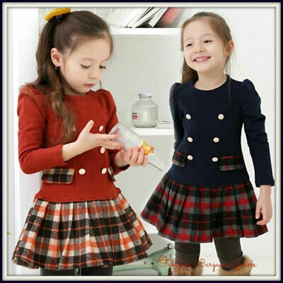 New School Scottish Plaid Checkered Tartan Baby Girls Dress Party Kids Clothes