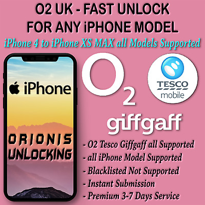Unlock Code For iPhone 4 4S 5 5S 5C SE 6 6S 7 8 X XS MAX XR O2 Tesco Unlocking