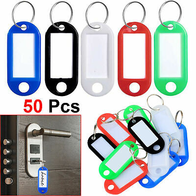 Pack of 50 Plastic Colour Key Tags Key Ring Fob with Paper Inserts Split Rings