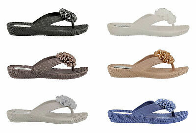 Ladies Ella Flower Diamante Low Wedge Toe Post Flip Flop Sandals