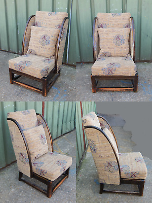 Fabulous antique solid oak winged nursing bedroom chair with Grecian upholstery