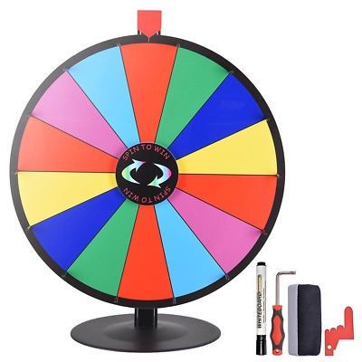 """WinSpin 24"""" 14 Slot Tabletop Color Prize Wheel Dry Erase Fortune Roulette Game"""