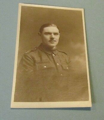 WWI Army Soldier in Uniform with Crossed Swords Insignia RPPC Photo Postcard