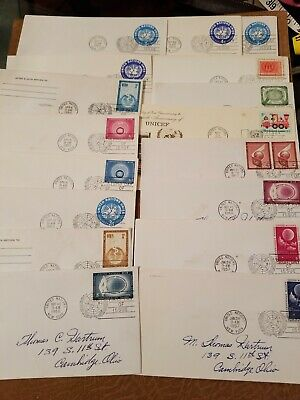UN Stamps Lot of 17 195Os+ United Nations First Day Cover FDC Collection 062006
