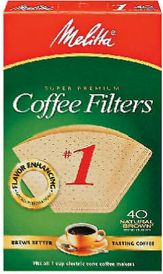 MELITTA 40-Pack #1 Natural Brown Cone Coffee Filters 620122