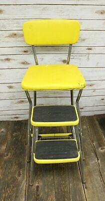Vintage 1950's Mid-Century Cosco Stylaire Step Stool Kitchen Chair Yellow Retro