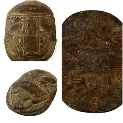 Big Antique Scarab Egyptian Hieroglyphics Amulet Beetle Collection Carved Stone