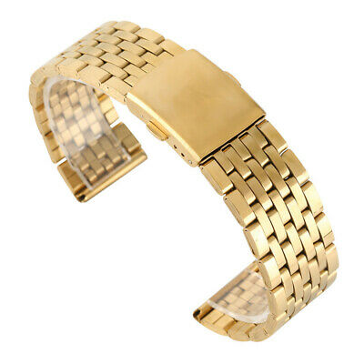 Stainless Steel Strap Band Gold Watch Band Strap + 2 Spring Bars 18/20/22MM
