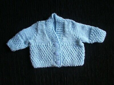 Baby clothes BOY premature/tiny<4lbs/1.8kg blue, patterned cardigan SEE SHOP!