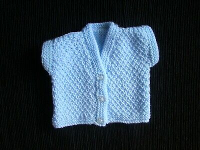 Baby clothes BOY premature/tiny<4lbs/1.8kg blue, patterned cardigan no sleeves