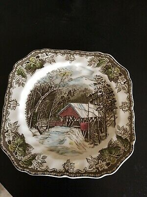 Johnson Brothers FRIENDLY VILLAGE The Covered Bridge SQUARE SALAD PLATE England