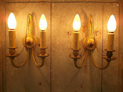 French a pair of patina gold bronze wall light sconces exquisite antique rare