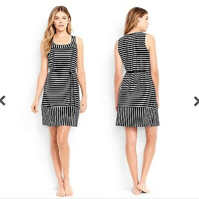 2c6db9c2c5f Lands' End Womens XL Belted Swimsuit Cover Up Dress Black White Media Stripe