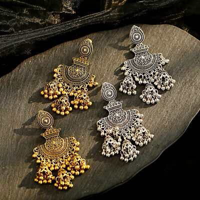 Fashion Bohemia Metal Indian Dangle Women Charm Jhumka Earrings Wedding Jewelry