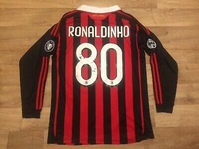 Ronaldinho *Small* Long Sleeves AC Milan Shirt! PRINT WORN!