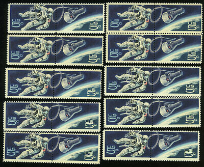 US #1331-1332 1331-2 1332a 5¢ Space Twins Accomplishments in Space 10 pairs NH
