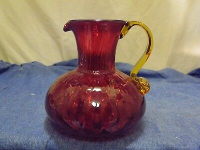 Mid-Century Blenko USA Art Glass Ruby Red Amberina Yellow Handled 1 Qt Pitcher