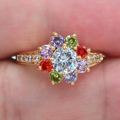 18K Yellow Gold Filled Women Rainbow Topaz Zircon Flower Ring Jewelry