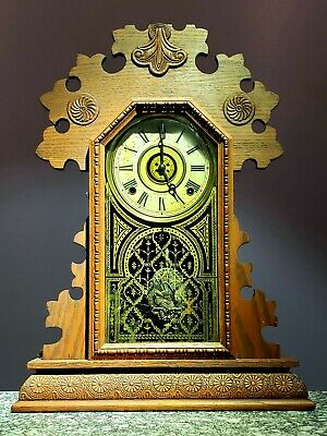 E. Ingraham Co. Kitchen or Gingerbread Antique Clock With Ornate Pendulum!