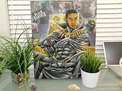 Black Panther Acrylic Hand Painted Canvas