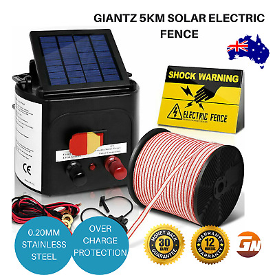 Giantz 5km Solar Electric Fence with 400M Tape and 25pcs Insulators Sign