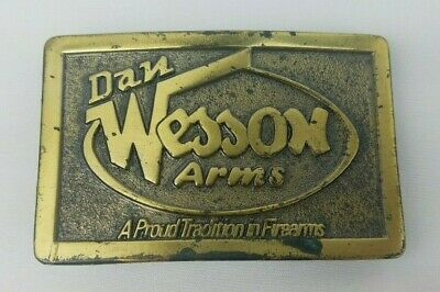 """Vintage 70s Dan Wesson Arms Brass Belt Buckle ~ 3.25"""" x 2.25"""" ~ Lewis of Chicago"""