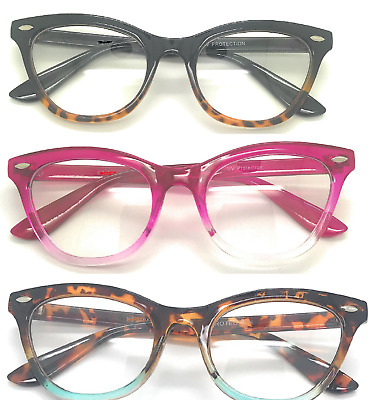Cat Eye Clear Lens Retro Eyeglasses Two Tone  Frame Women Fashion Glasses